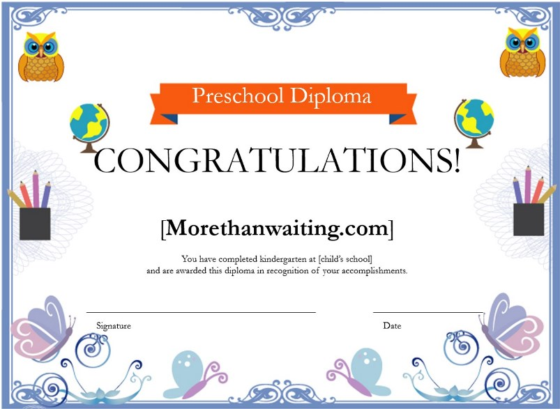 Preschool Diploma Borders Certificate free download