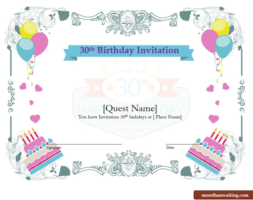 Free 30th Birthday Invitations Templates for Him or Her free download