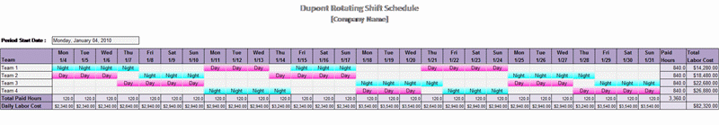 Dupont Rotating Shift Schedule Schedules Templates