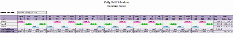 Kelly Shift Schedule