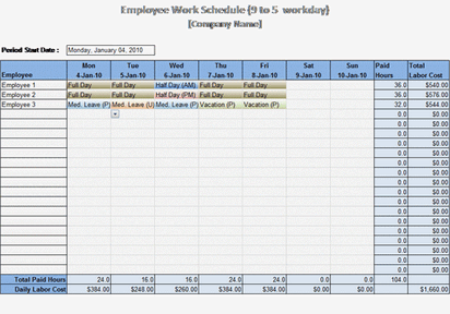 9 To 5 Work Schedule