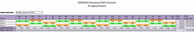 DDNNOO rotating shift schedule free download
