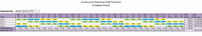 Continental Rotating Shift Schedule