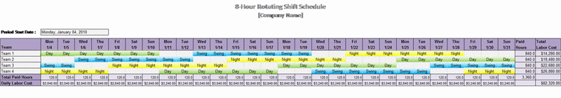 8-hour Rotating Shift Schedule