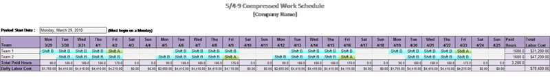 5-4-9 Compressed Work Schedule Schedules Templates
