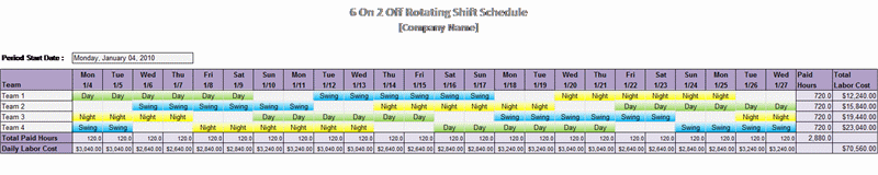 6 On 2 Off Rotating Shift Schedule