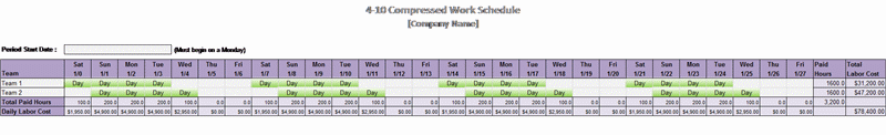 4-10 Compressed Work Schedule
