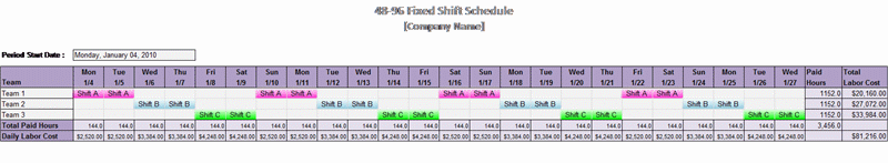 48-96 Fixed Shift Schedule