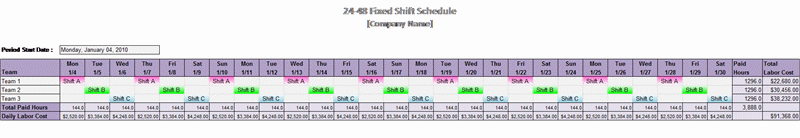 24-48 Fixed Shift Schedule