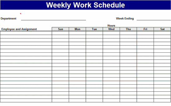 Weekly Work Schedule Schedules Templates – Work Plan Template Microsoft Office