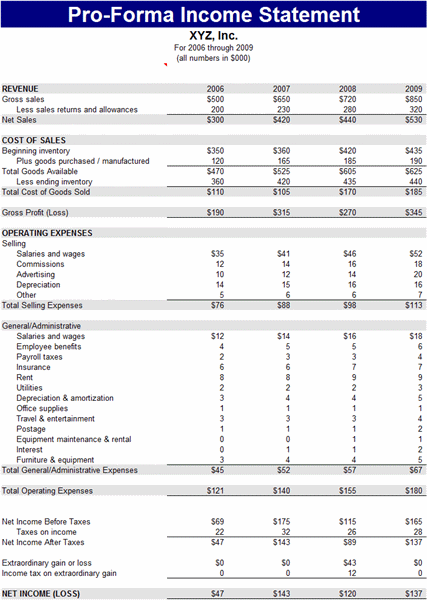 Pro Forma Income Statement Templates Free Download  Income Statement Microsoft