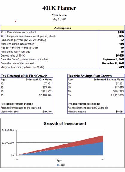 401(k) Planner free download
