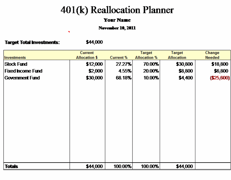 401(k) reallocation planner free download