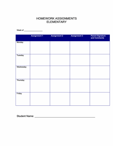 Homework Assignments (elementary)