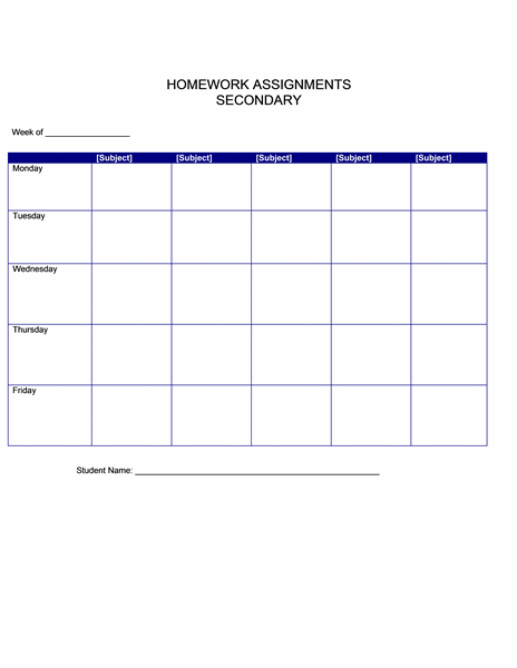 Homework Assignments (secondary)
