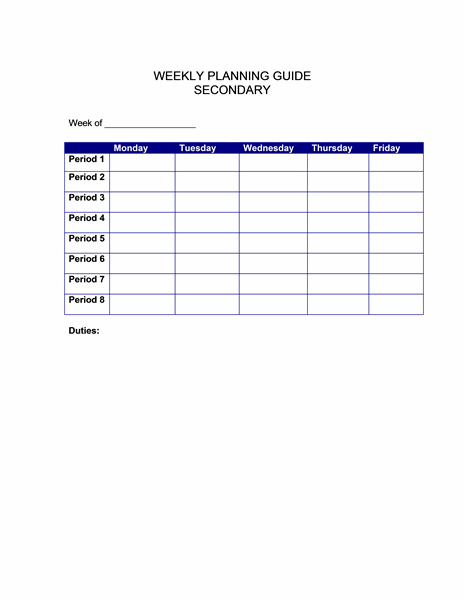 Weekly planning guide (secondary) free download