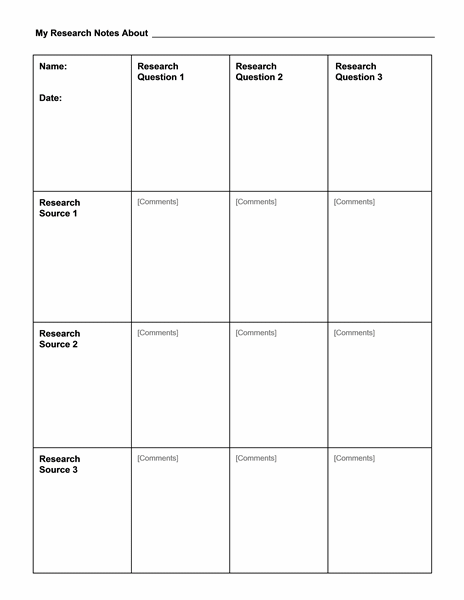 Research notes chart free download