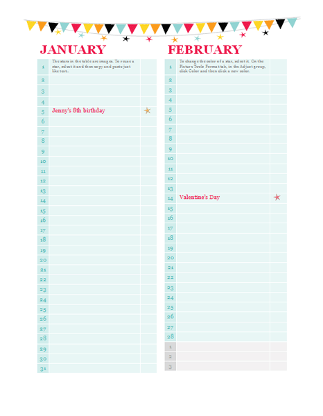 Birthday And Anniversary Calendar (any Year)