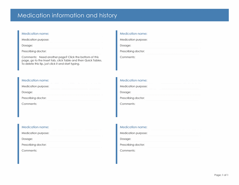 Medication Information and History free download