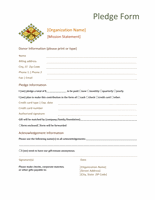 Donation Pledge Form Templates Microsoft Word