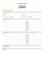 Employee Status Report Template Word