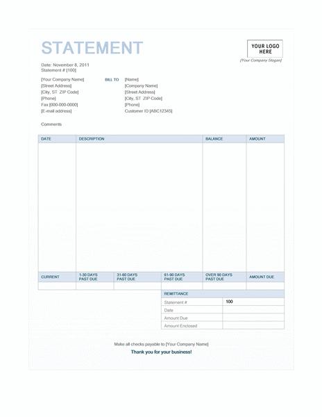 billing statement blue background design statements templates. Black Bedroom Furniture Sets. Home Design Ideas