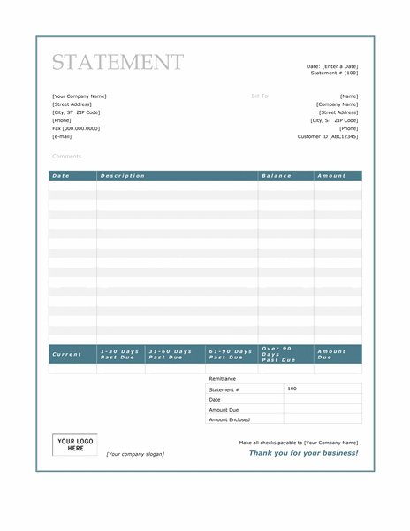 Billing statement blue border design statements templates for Office design brief template