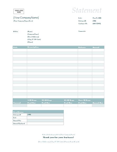 Billing Statement (simple Blue Design)