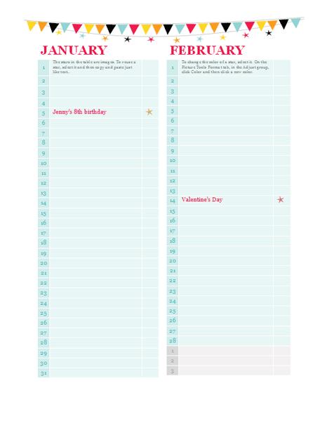 Calendar For Birthdays And Anniversaries Militaryalicious