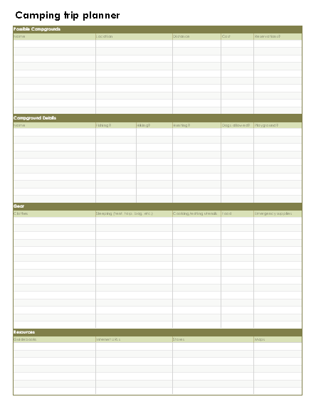 Camping Trip Details Equipment Itinerary Planner