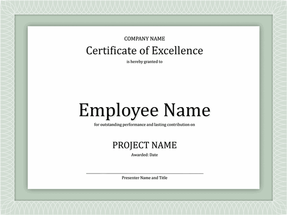 Certificate Of Excellence For Employee 2015 2016