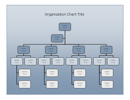 Company organizational chart blue gradient design chart for Organizational chart template doc