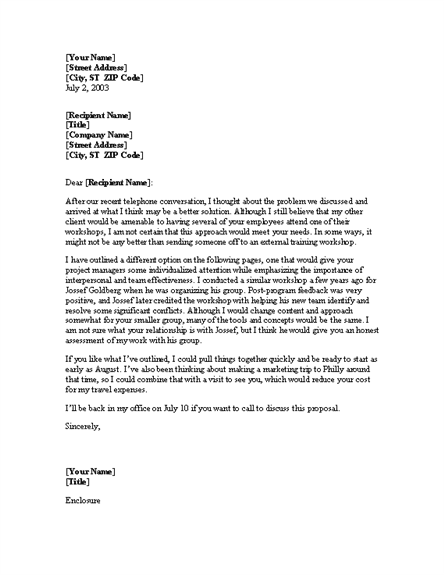 letter for proposal from training consultant cover letters templates