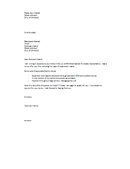cover letter responding ad sample