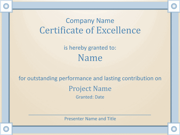 Employee Award Certificate Of Excellence Template