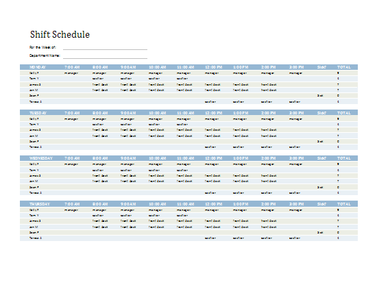 Employee Shift Schedule Template Excel - Staff scheduling template excel free