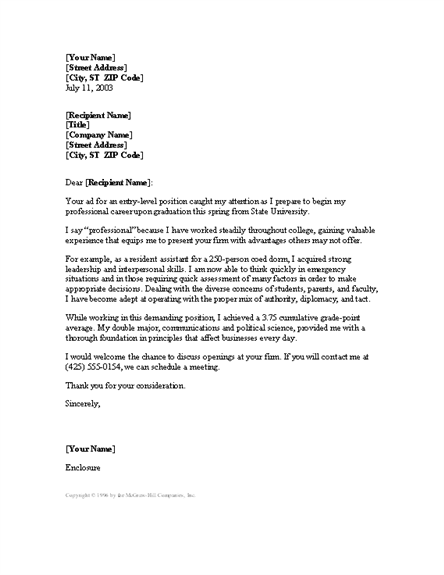 cover letter for entry level sales position - entry level cover letter cover letters templates