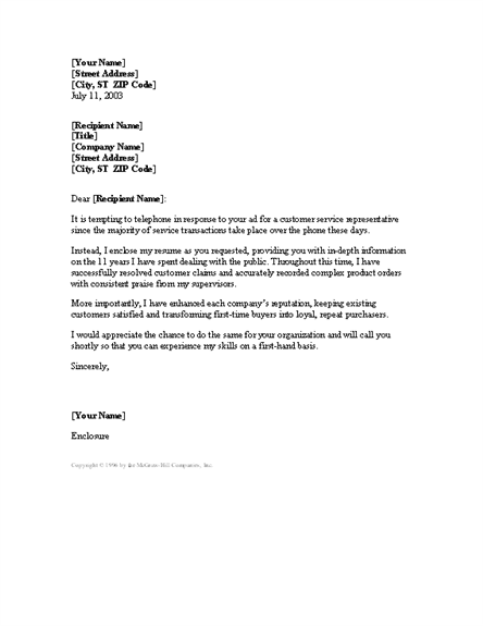 sample cover letter for a customer service position - experienced customer service rep cover letter cover