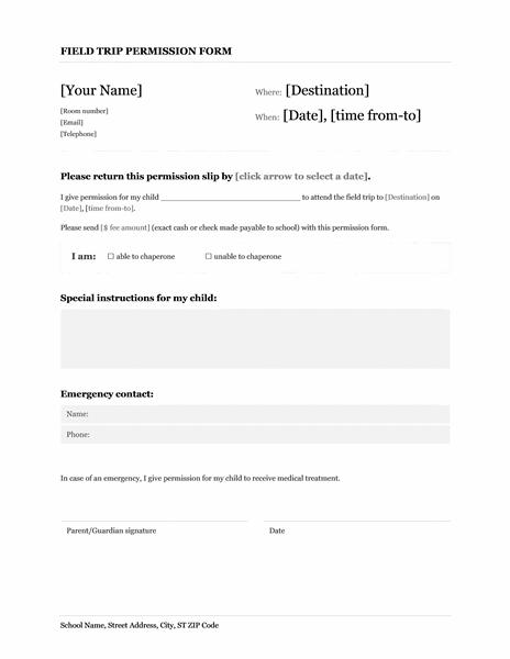 Field Trip School Permission Form Template Microsoft Word
