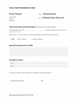 Field Trip School Permission Form Template Microsoft Word