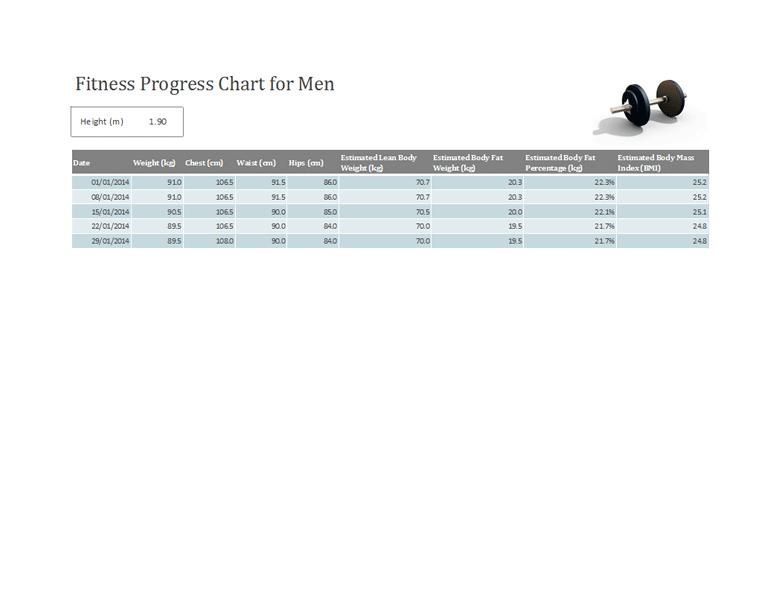 Fitness Progress Tracker For Men (metric)