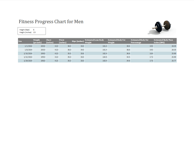 Fitness Progress Tracker For Men