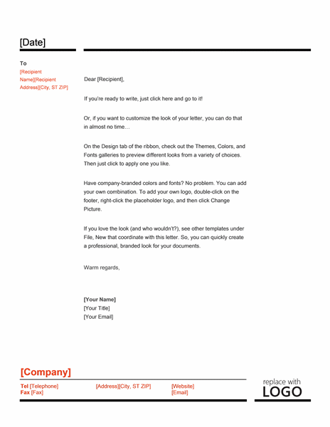 Red Black Letterhead Template Word