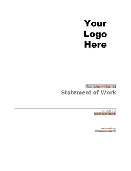 Statement Of Work Statements Templates