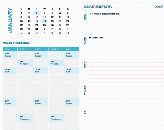 Student Weekly Planning Calendar (any Year, Sun-sat)