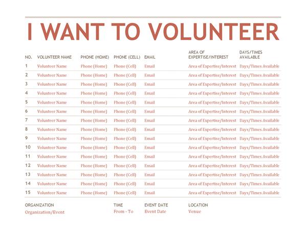 Volunteer Registation And Sign-up Sheet Template