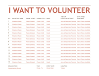 Volunteer Registation And Sign-up Sheet Template