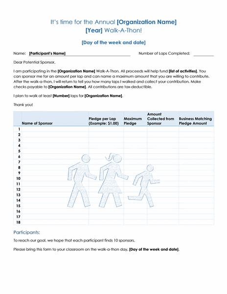 Walk A Thon Fundraiser Pledge Form Template Microsoft Word
