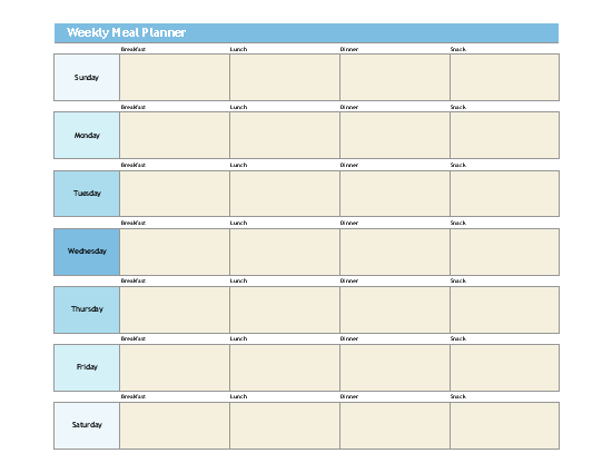 Sample Weekly Meal Planner Template
