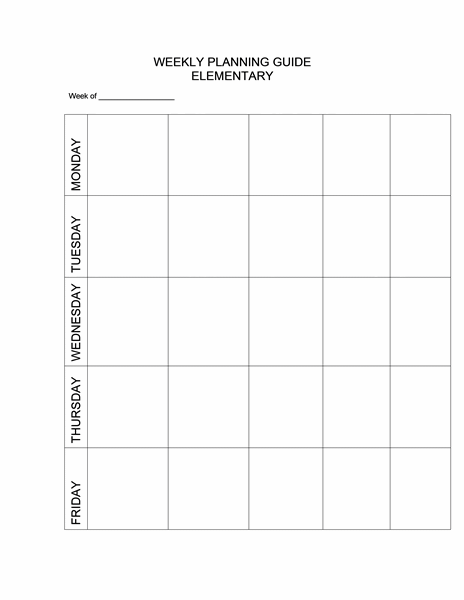 Weekly Planning Guide (elementary)